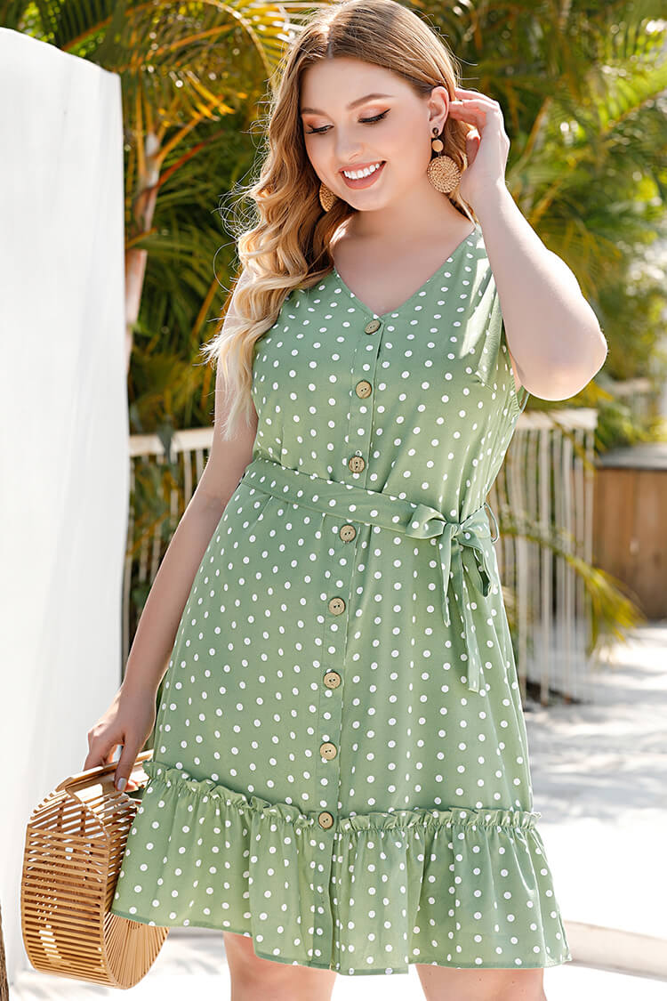 Plus Size Belted Buttons Polka Dot Dress