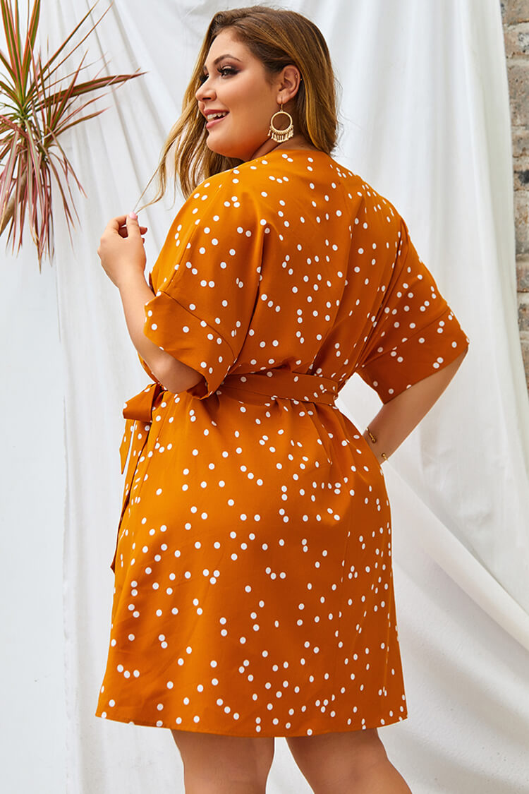 Plus Size Belted Flare Polka Dot Dress