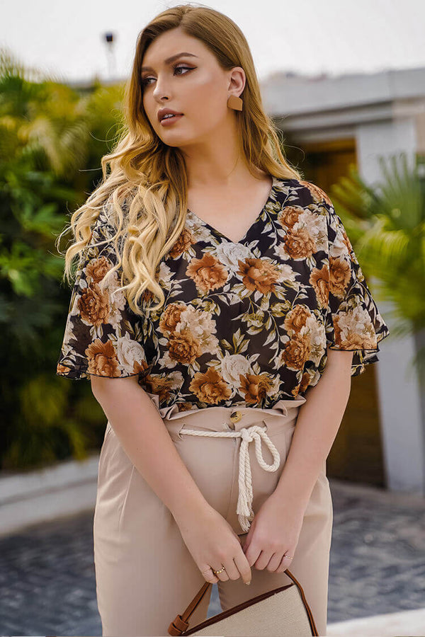 Plus Size Belted Floral Short Sleeve Blouse