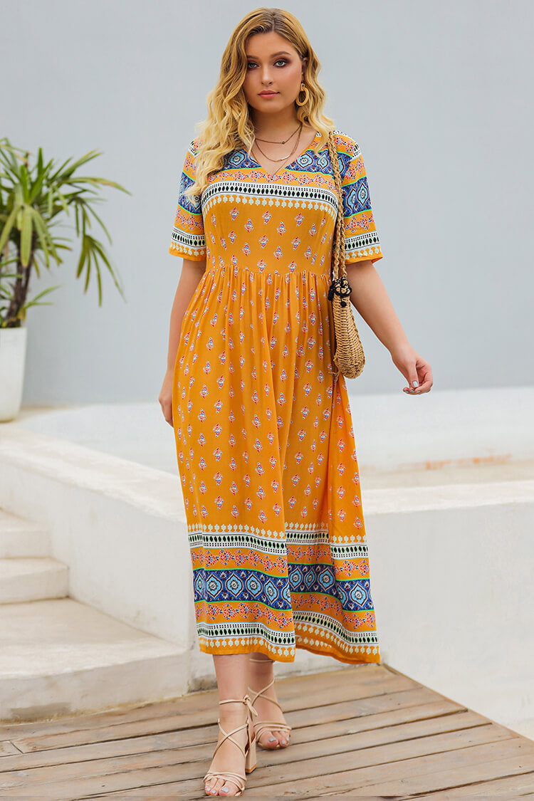 Plus Size Bohemia Floral Print Vacation Maxi Dress