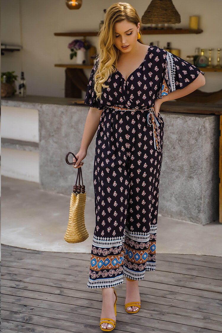 Plus Size Bohemia V-neck Jumpsuit with Belt