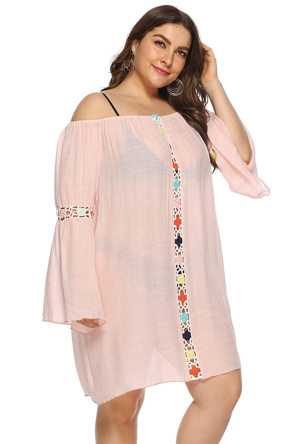 Plus Size Boho Flare Sleeve One-shoulder Cover-up Dress