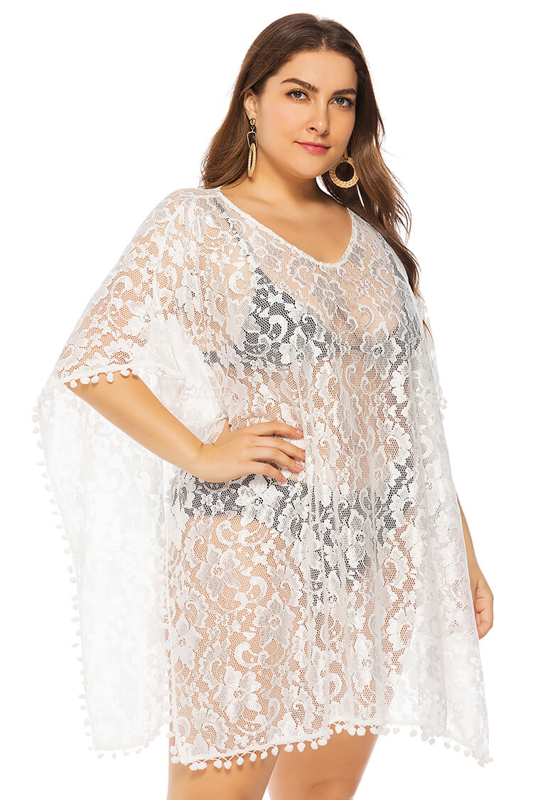 Plus Size Boho Loose Lace V-neck Bikini Cover-up Dress