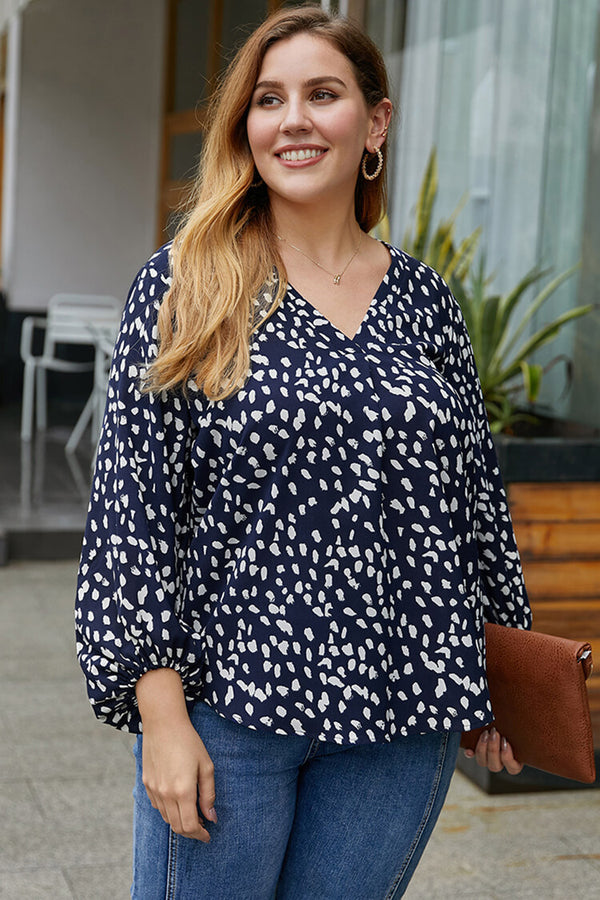 Plus Size Bubble Sleeve V Neck Blouse