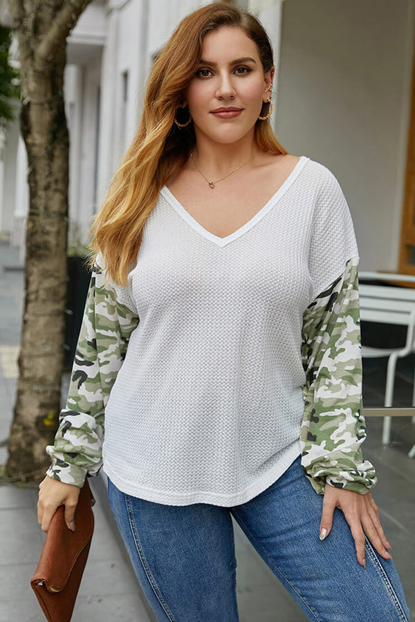 Plus Size Camouflage Waffle Knit Long Sleeve Blouse