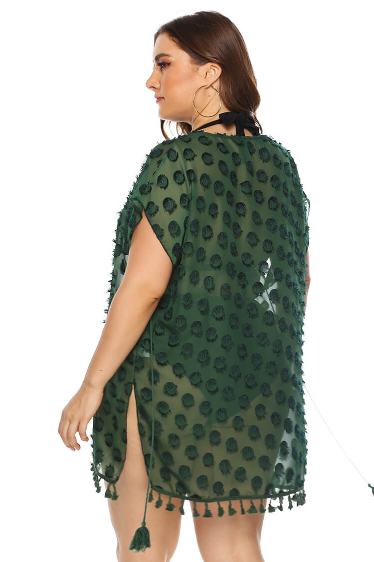 Plus Size Chiffon Jacquard Weave Tunic Cover-up Dress