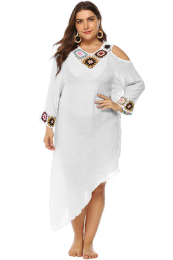 Plus Size Cold Shouder Asymmetrical Tunic Cover Up Dress
