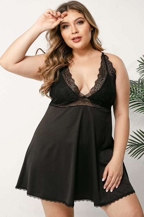 Plus Size Crisscross Back Scalloped Sexy Lingerie Nightdress