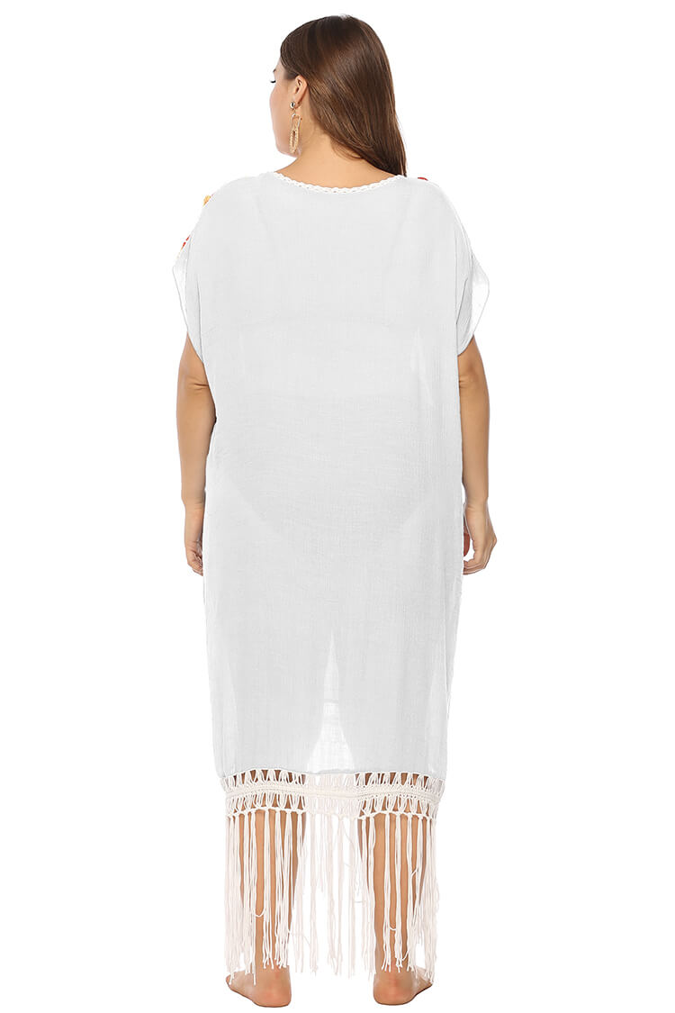 Plus Size Crochet Insert Tassels Summer Beach Cover-up Dress