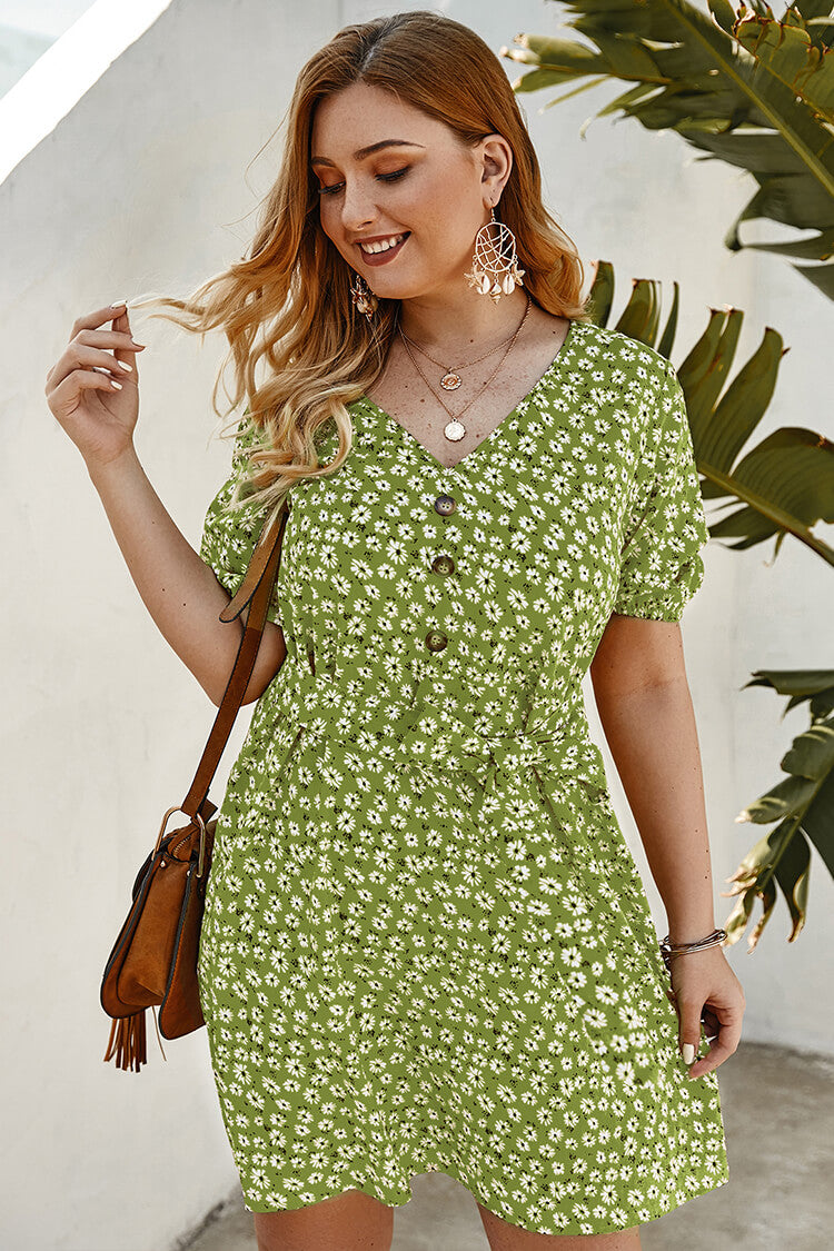 Plus Size Daisy Print Summer Mini Dress