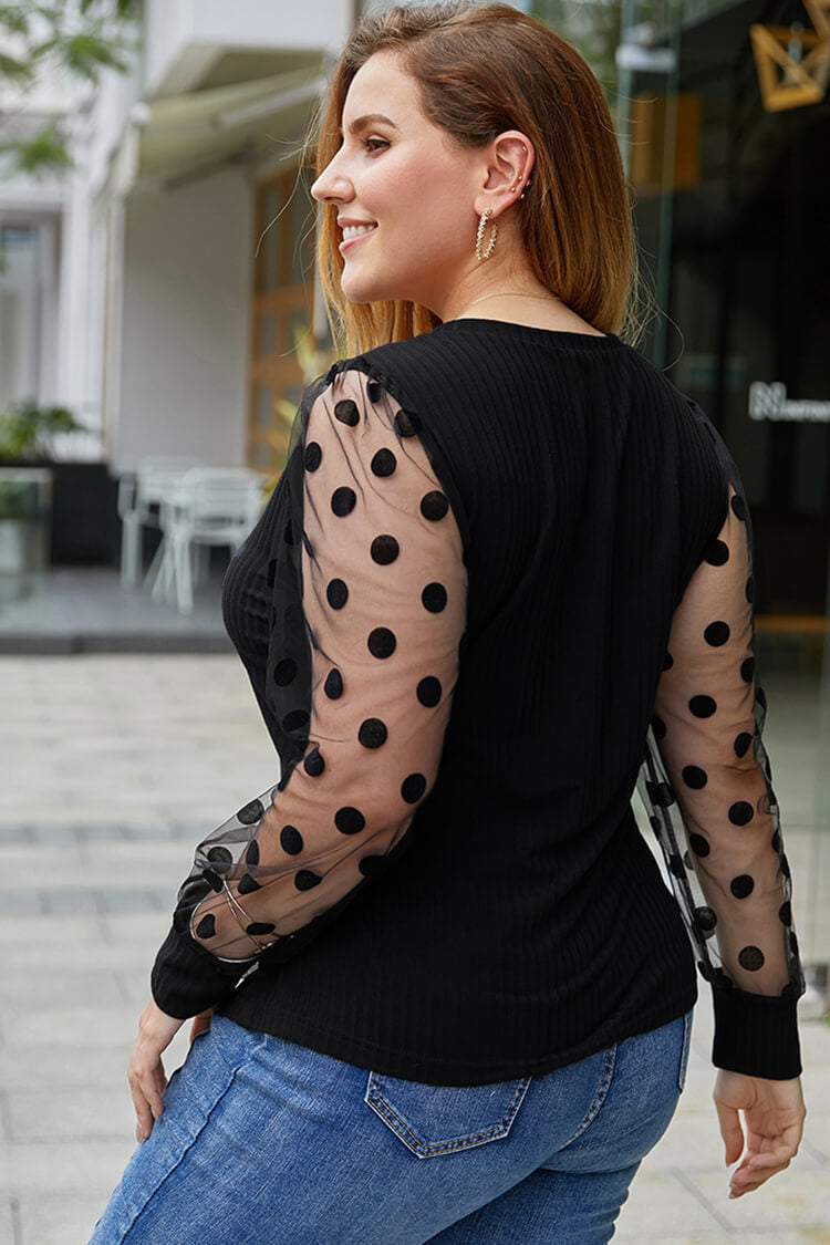 Plus Size Dotted Mesh Insert Long Sleeve Blouse