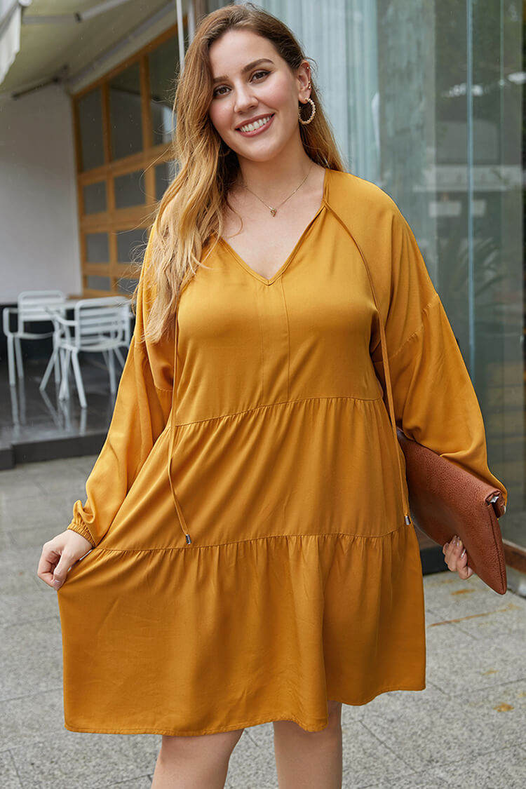 Plus Size Drawstring Long Sleeve Casual Dress