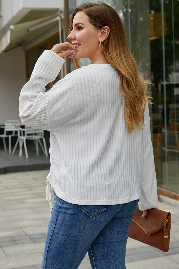 Plus Size Drawstring Scoop Neck Long Sleeve Blouse