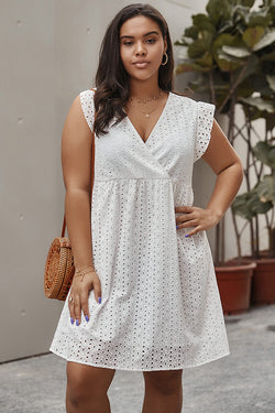 Plus Size Embroidered Hollowed-out Mini Dress