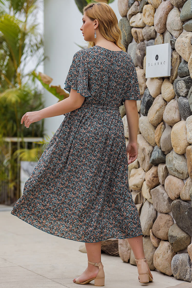 Plus Size Flare Sleeve Print Summer Dress