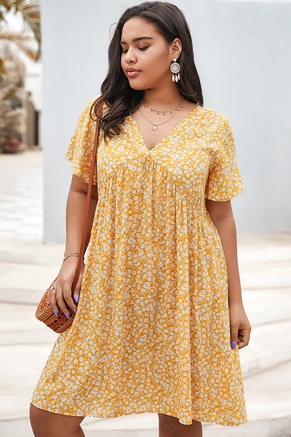 Plus Size Floral Casual Summer Mini Dress