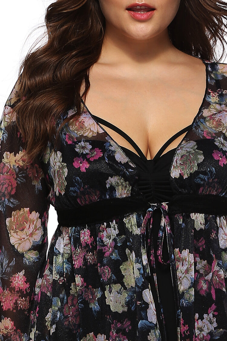 Plus Size Floral Chiffon Lace-up Beachwear