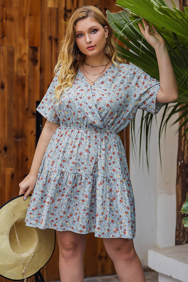 Plus Size Floral Chiffon Mini Dress