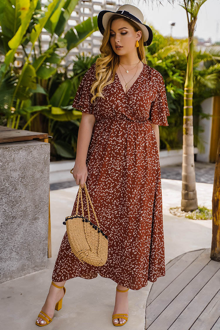 Plus Size Floral Classic V Neck Sun Dress