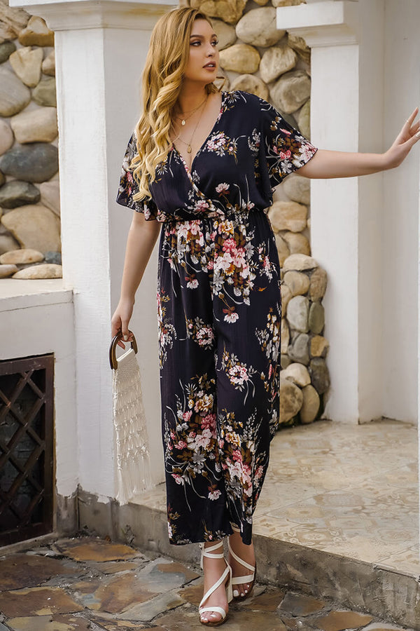 Plus Size Floral Jumpsuit Casual Wide Leg V neck Beach  Rompers