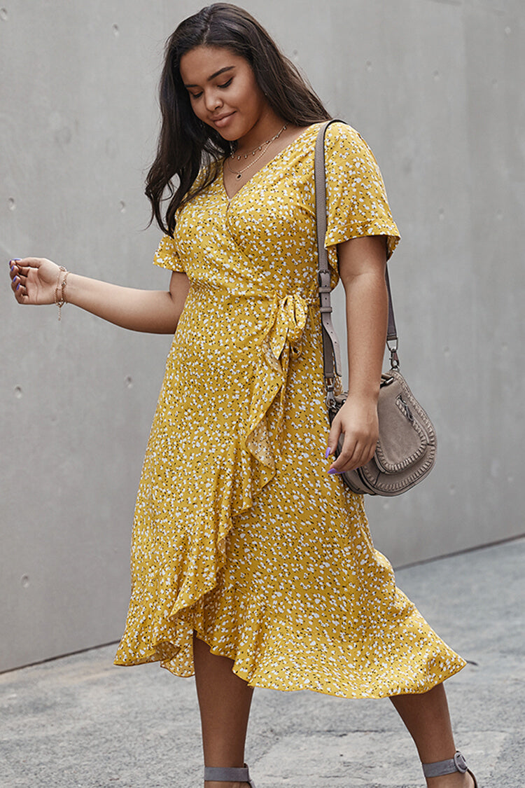Plus Size Floral Lace-up Mermaid Summer Dress