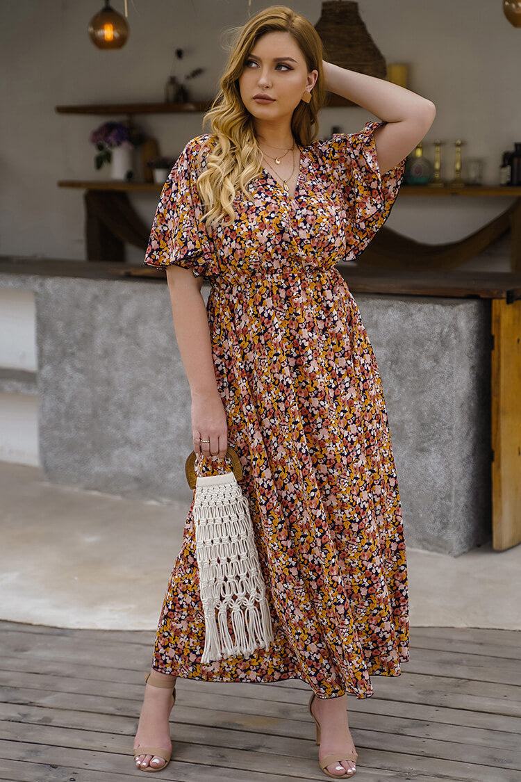 Plus Size Floral Tropical Summer Maxi Dress