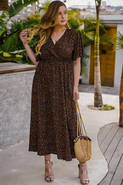 Plus Size Floral Wrap Summer Dress For Women