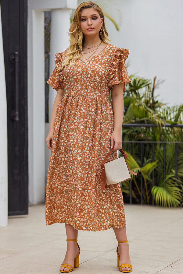 Plus Size Flouncing Floral Print Dress
