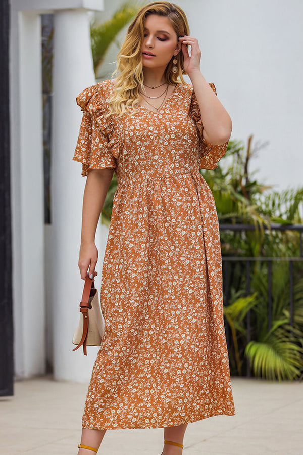 Plus Size Flouncing Floral Holiday Dress