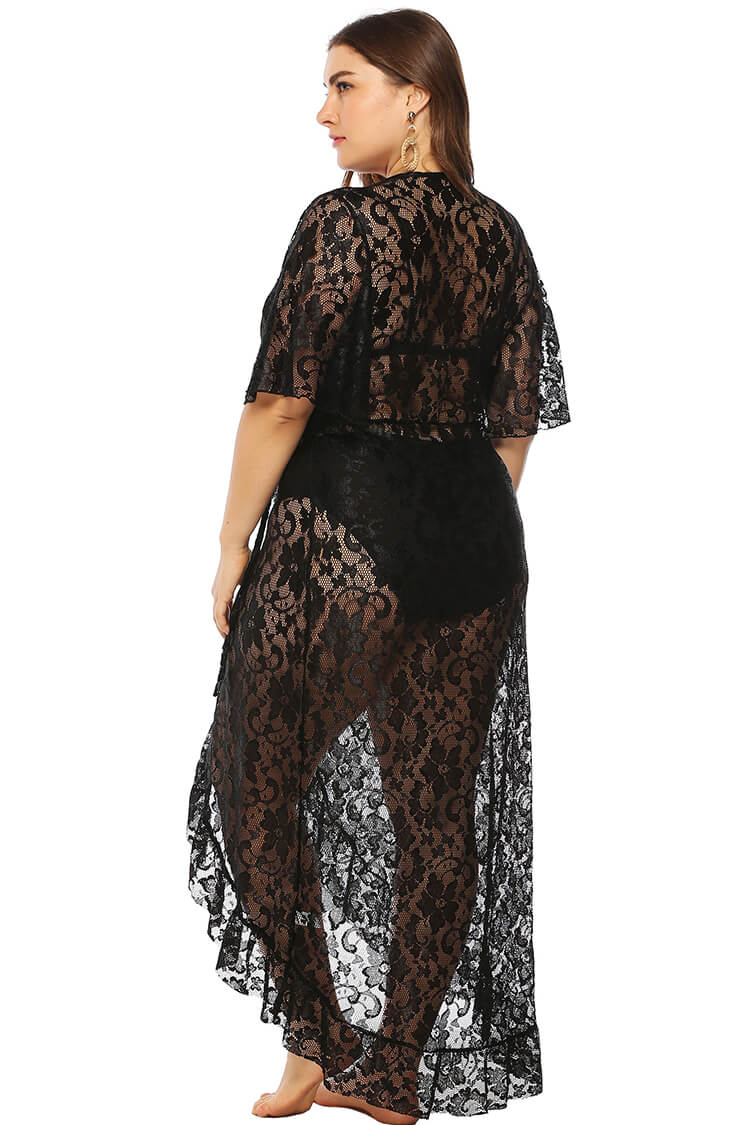 Plus Size Lace-up Bathing Suit Cover Up Beachwear