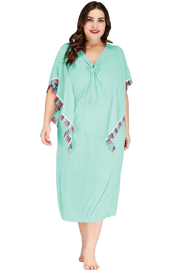 Plus Size Lace-up Front Tassels Swim Cover-up Dress