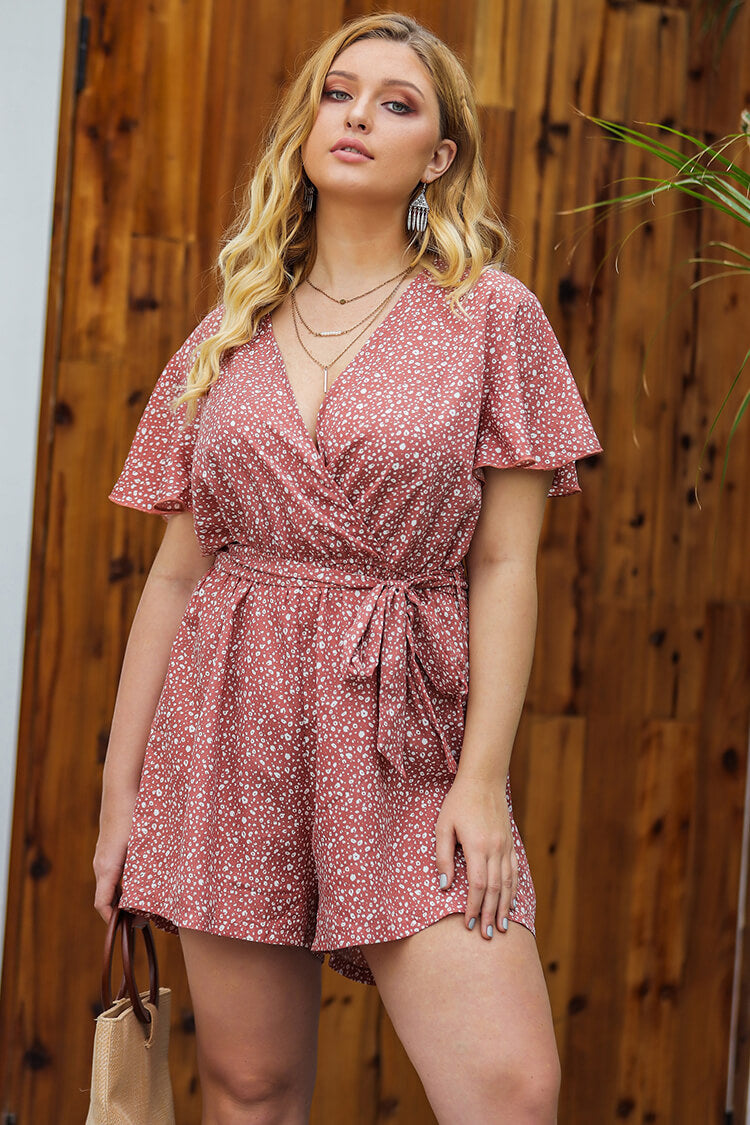 Plus Size Lace-up Ruffles Print Romper