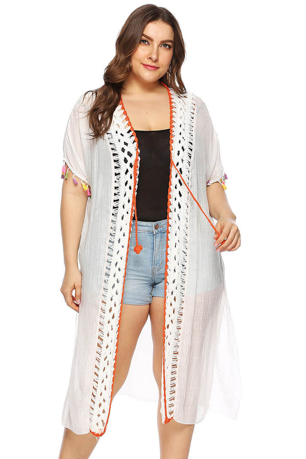 Plus Size Lace-up Sheer Swim Cover-up Dress