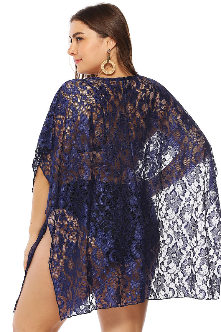 Plus Size Lace See-through V-neck Cover-up Dress