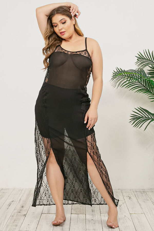 Plus Size Lace See Through One Piece Sexy Nightdress