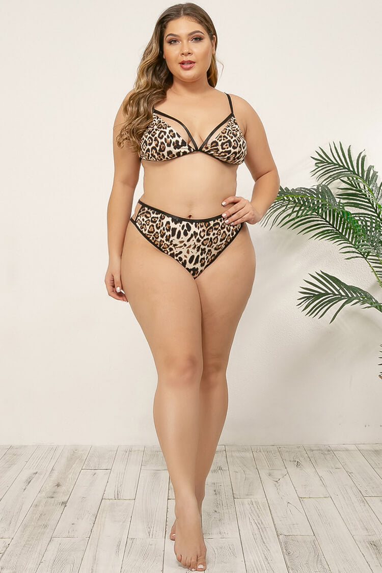 Plus Size Leopard Print High Waist Lingerie Set
