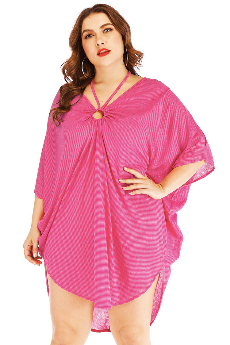 Plus Size Loose Halter Summer Beach Cover-up Dress