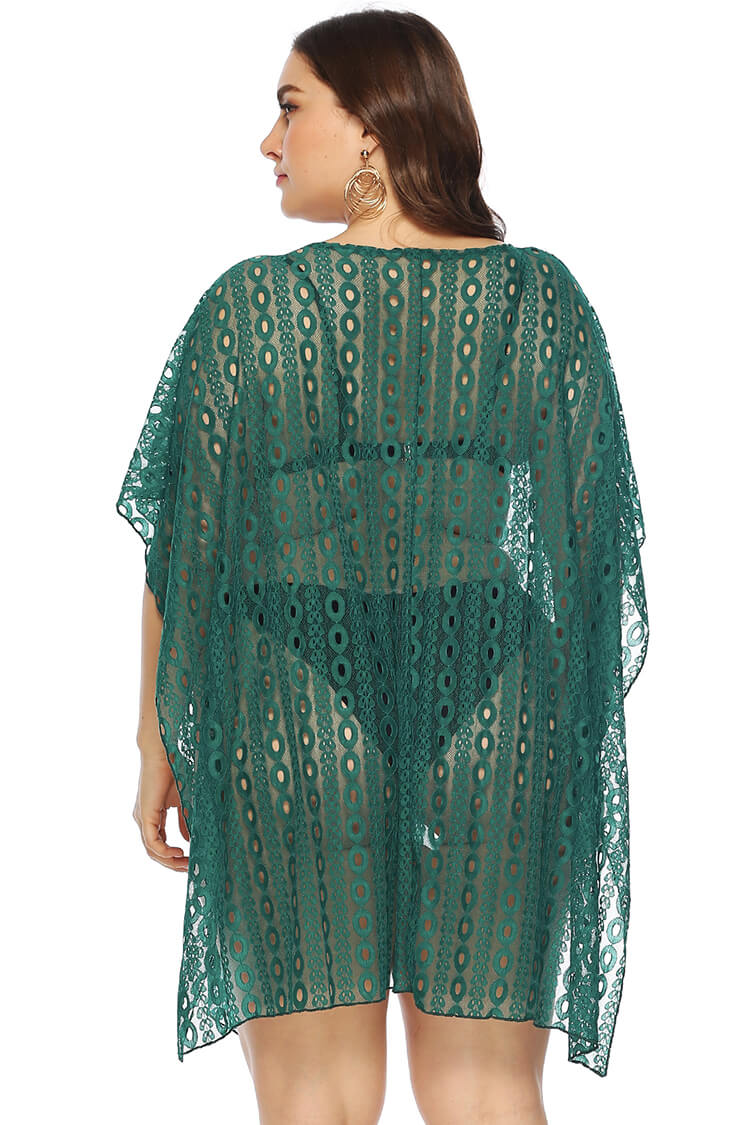 Plus Size Loose Hollow Vacation Beach Cover-up Dress