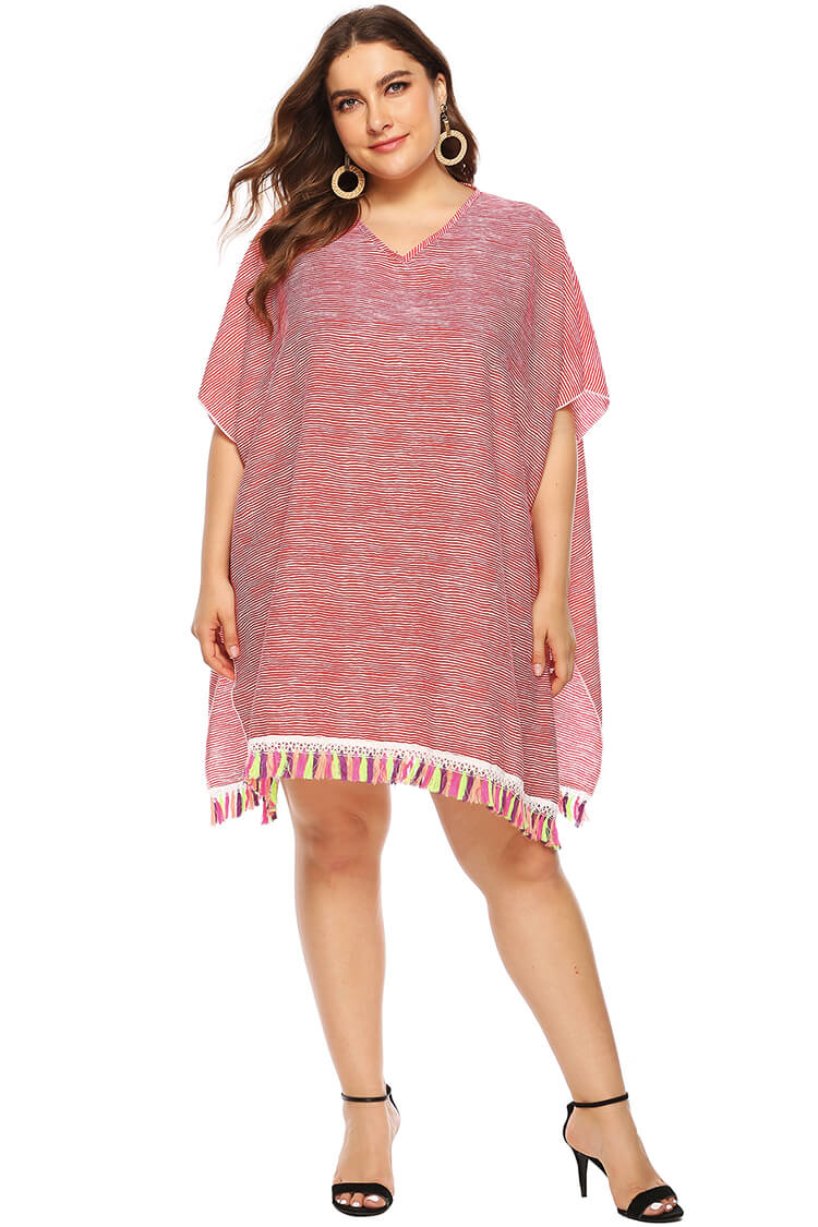 Plus Size Loose Stripe Tassels Beach Cover-up Tunic