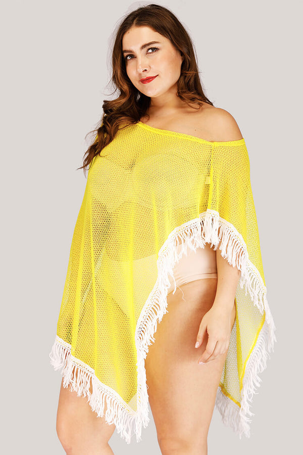 Plus Size Mesh Tassels Summer Swim Cover-up Tunic