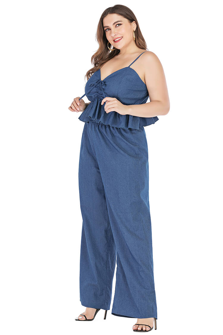 Plus Size Navy Blue Wide Leg Matching Outfits