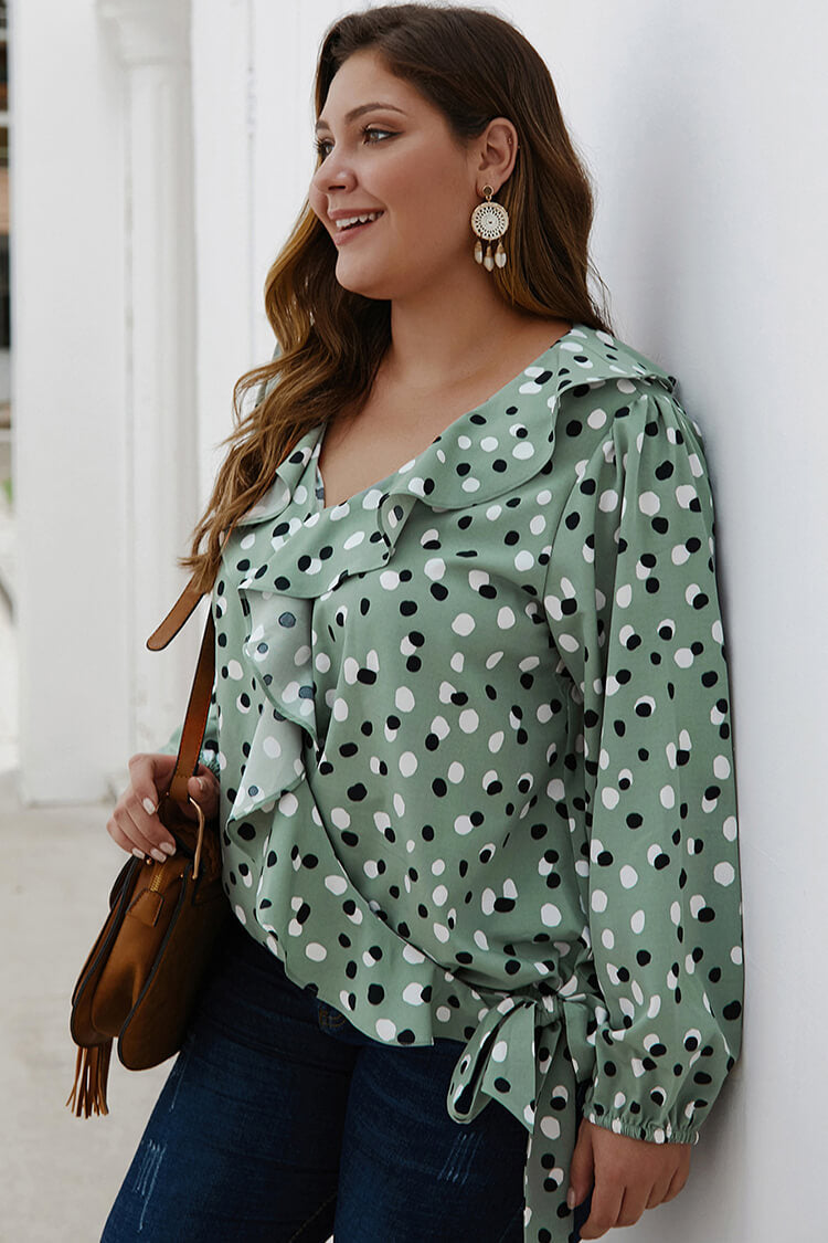 Plus Size Polka Dot Flounce Summer Blouse