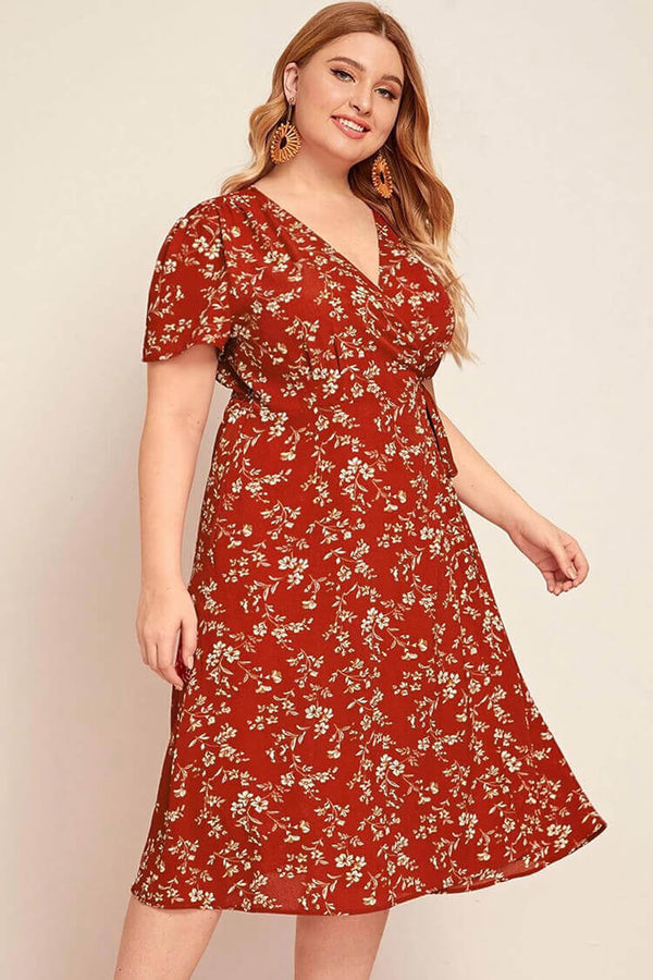 Plus Size Print Wrap Belted Sun Dress