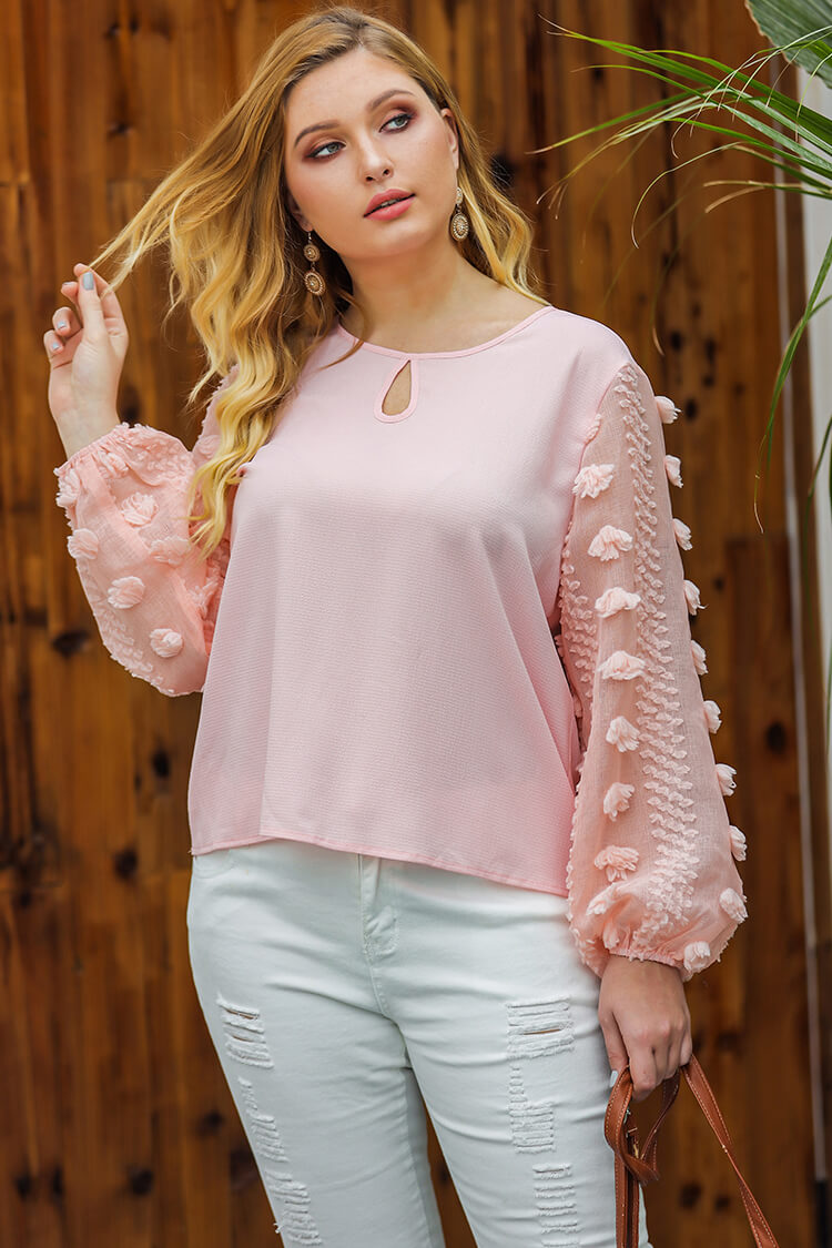 Plus Size Puff Sleeves Chiffon Pink Shirt