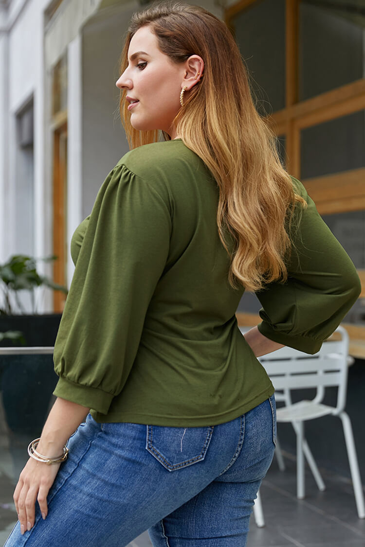 Plus Size Ruched V Neck Lace-up Top