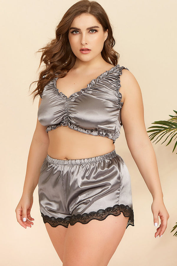 Plus Size Satin Top and Shorts Set Nightwear