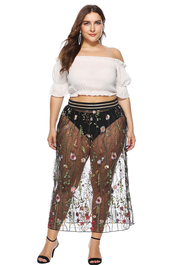 Plus Size See-through Floral Lace Beach Skirt for 2020 Summer