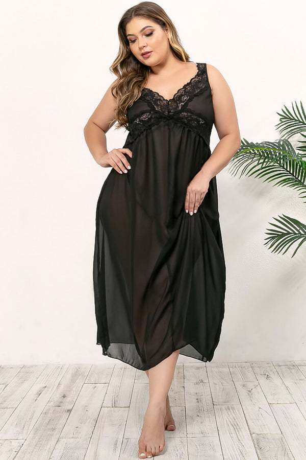 Plus Size Sexy See Through Maxi Nightdress