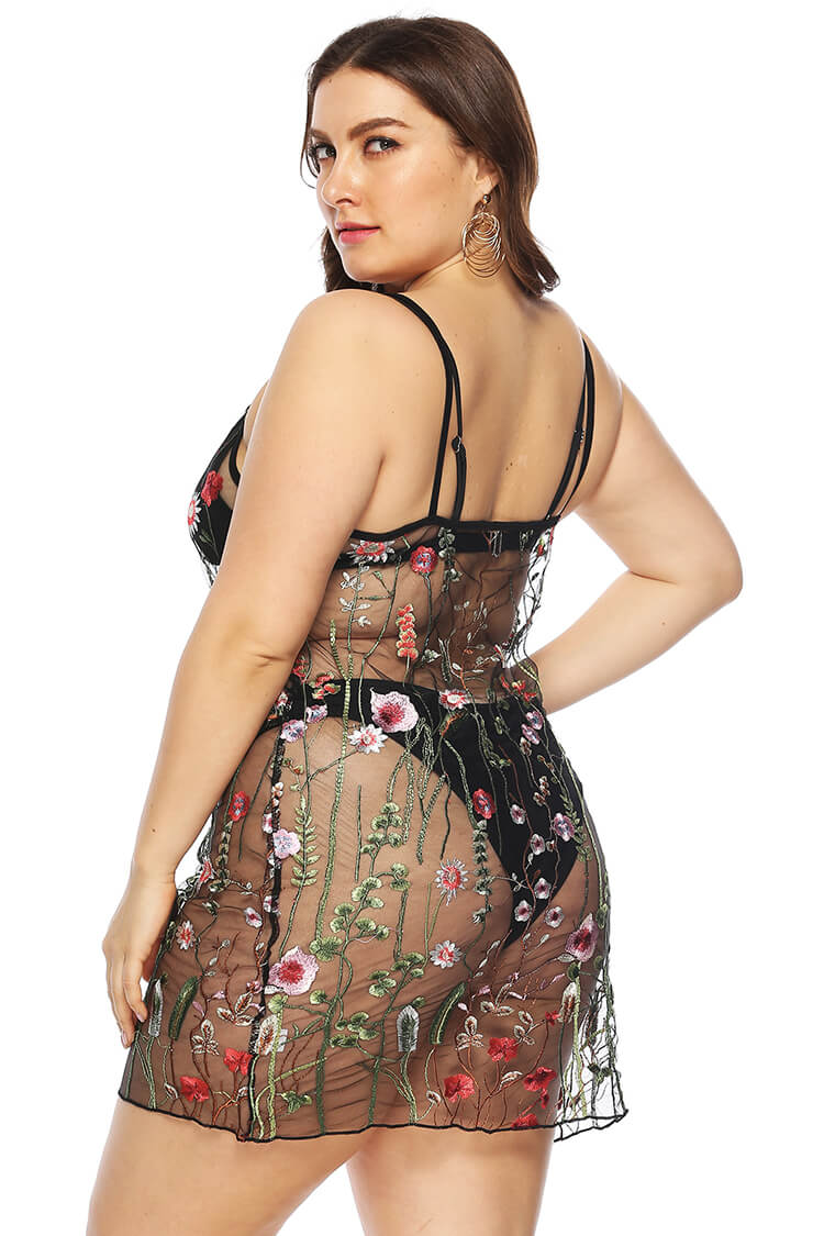 Plus Size Sheer Floral Lace Beach Cover-up Dress