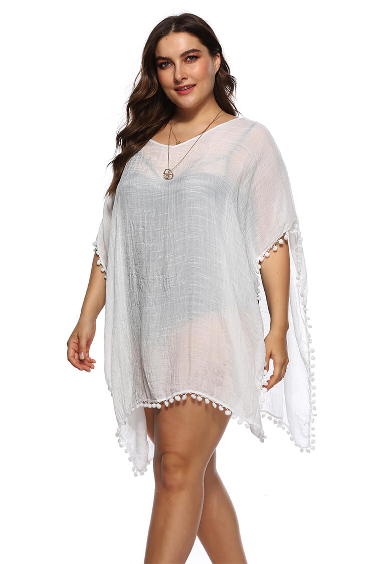 Plus Size Sheer Swim Cover-up Dress